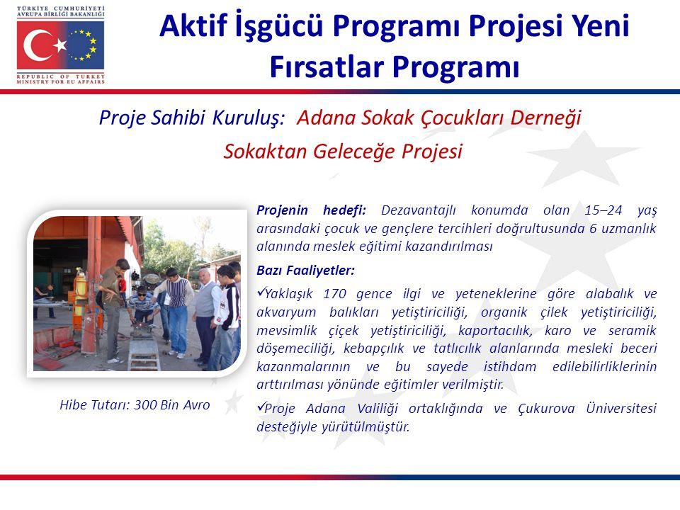 Proje Sahibi Kuruluş: Adana Sokak Çocukları Derneği Sokaktan Geleceğe Projesi Projenin hedefi: Dezavantajlı konumda olan 15–24 yaş arasındaki çocuk ve