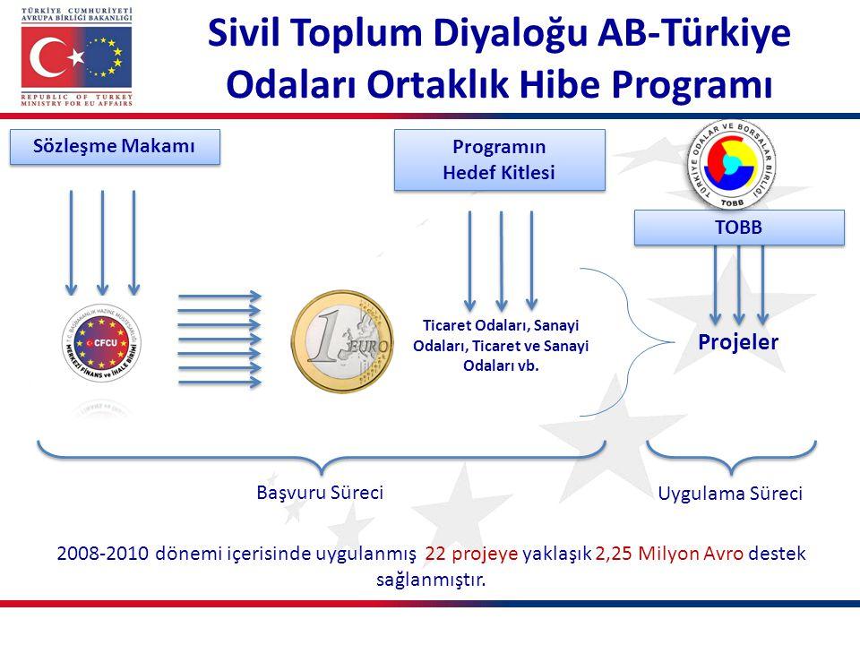 Ticaret Odaları, Sanayi Odaları, Ticaret ve Sanayi Odaları vb. 2008-2010 dönemi içerisinde uygulanmış 22 projeye yaklaşık 2,25 Milyon Avro destek sağl