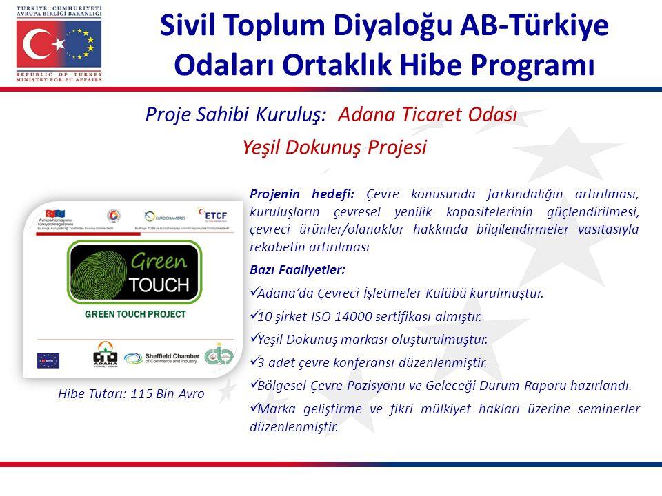 Proje Sahibi Kuruluş: Adana Ticaret Odası Yeşil Dokunuş Projesi Projenin hedefi: Çevre konusunda farkındalığın artırılması, kuruluşların çevresel yeni