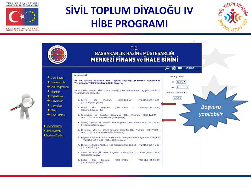 Başvuru yapılabilir SİVİL TOPLUM DİYALOĞU IV HİBE PROGRAMI