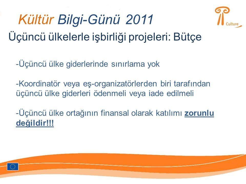 Kültür Bilgi-Günü 2011 Üçüncü ülkelerle işbirliği projeleri: Bütçe -Üçüncü ülke giderlerinde sınırlama yok -Koordinatör veya eş-organizatörlerden biri tarafından üçüncü ülke giderleri ödenmeli veya iade edilmeli -Üçüncü ülke ortağının finansal olarak katılımı zorunlu değildir!!!