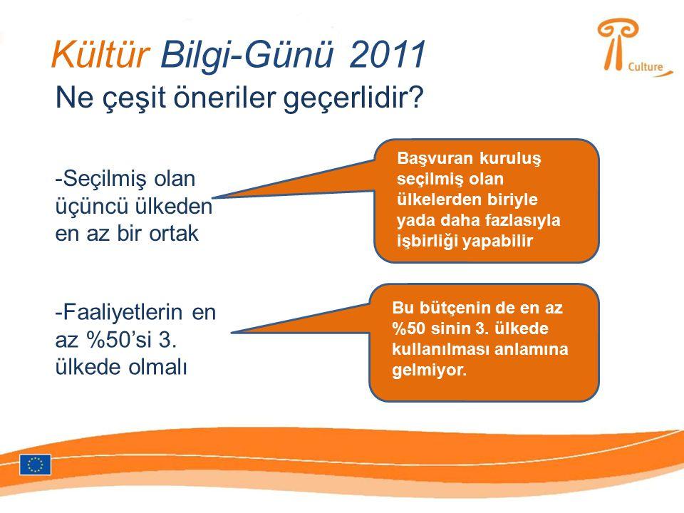 Kültür Bilgi-Günü 2011 Ne çeşit öneriler geçerlidir.
