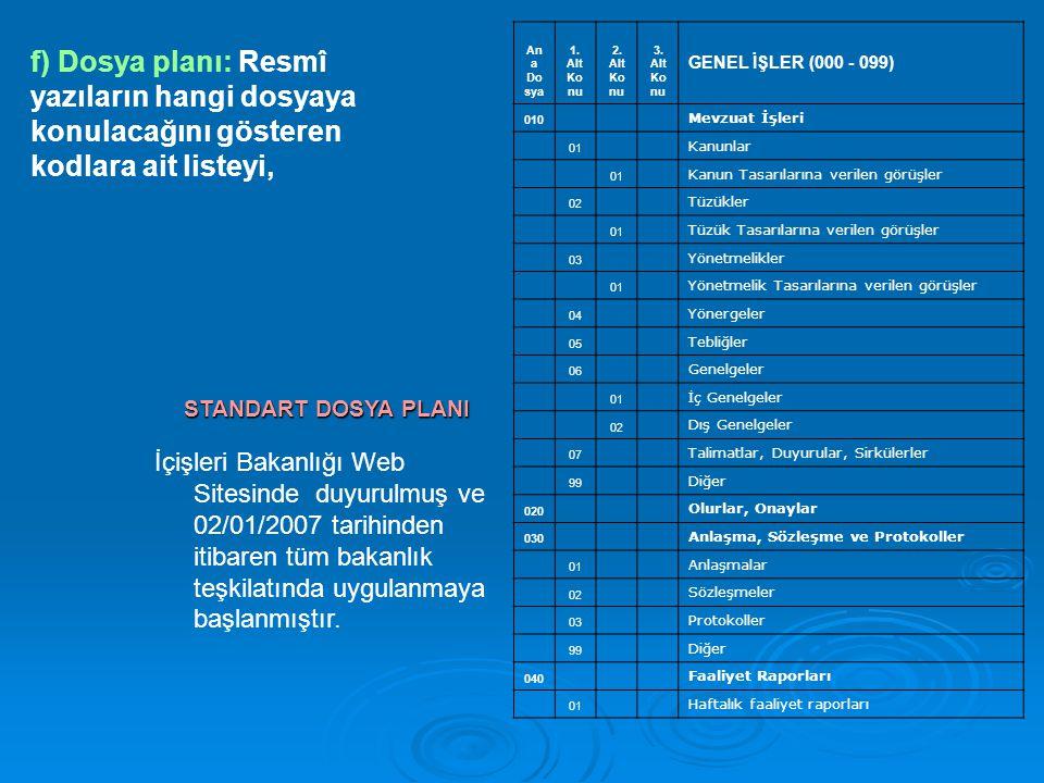 İçişleri Bakanlığı Web Sitesinde duyurulmuş ve 02/01/2007 tarihinden itibaren tüm bakanlık teşkilatında uygulanmaya başlanmıştır. STANDART DOSYA PLANI