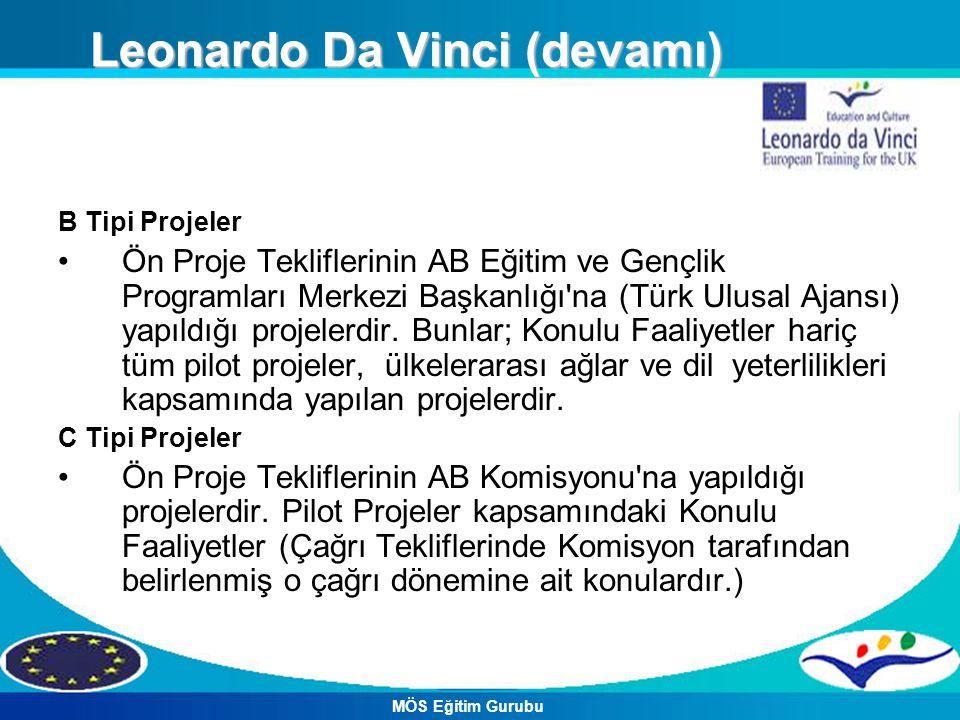 B Tipi Projeler Ön Proje Tekliflerinin AB Eğitim ve Gençlik Programları Merkezi Başkanlığı'na (Türk Ulusal Ajansı) yapıldığı projelerdir. Bunlar; Konu