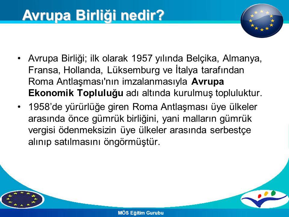 Avrupa Birliği; ilk olarak 1957 yılında Belçika, Almanya, Fransa, Hollanda, Lüksemburg ve İtalya tarafından Roma Antlaşması nın imzalanmasıyla Avrupa Ekonomik Topluluğu adı altında kurulmuş topluluktur.