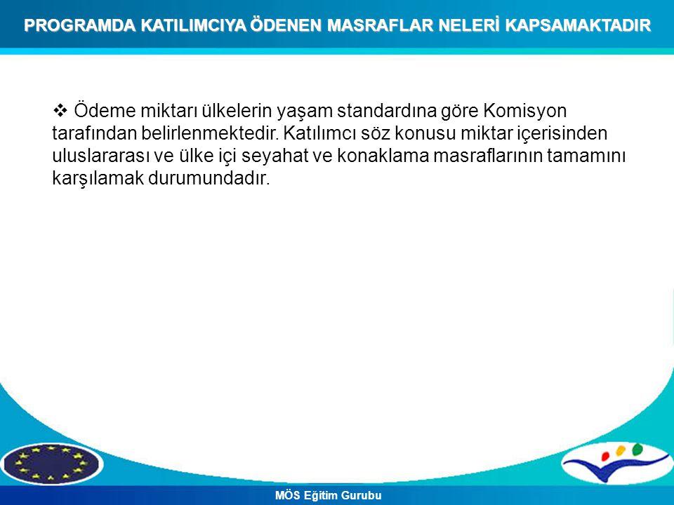 PROGRAMDA KATILIMCIYA ÖDENEN MASRAFLAR NELERİ KAPSAMAKTADIR  Ödeme miktarı ülkelerin yaşam standardına göre Komisyon tarafından belirlenmektedir.