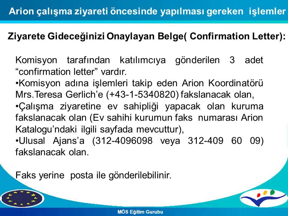 Arion çalışma ziyareti öncesinde yapılması gereken işlemler Ziyarete Gideceğinizi Onaylayan Belge( Confirmation Letter): Komisyon tarafından katılımcı