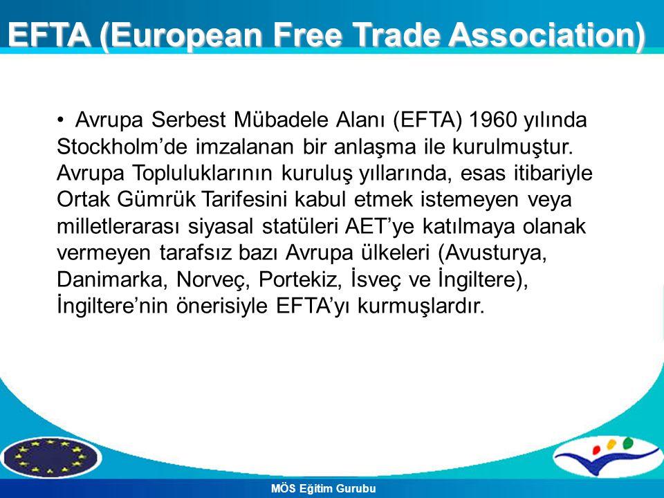 EFTA (European Free Trade Association) Avrupa Serbest Mübadele Alanı (EFTA) 1960 yılında Stockholm'de imzalanan bir anlaşma ile kurulmuştur. Avrupa To