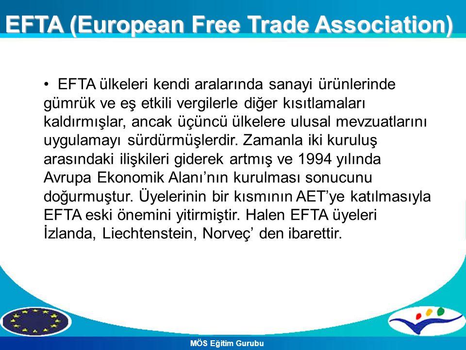 EFTA ülkeleri kendi aralarında sanayi ürünlerinde gümrük ve eş etkili vergilerle diğer kısıtlamaları kaldırmışlar, ancak üçüncü ülkelere ulusal mevzua