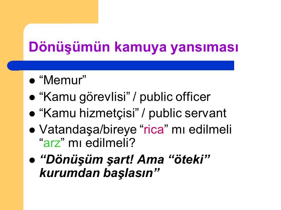"""Dönüşümün kamuya yansıması """"Memur"""" """"Kamu görevlisi"""" / public officer """"Kamu hizmetçisi"""" / public servant Vatandaşa/bireye """"rica"""" mı edilmeli """"arz"""" mı e"""