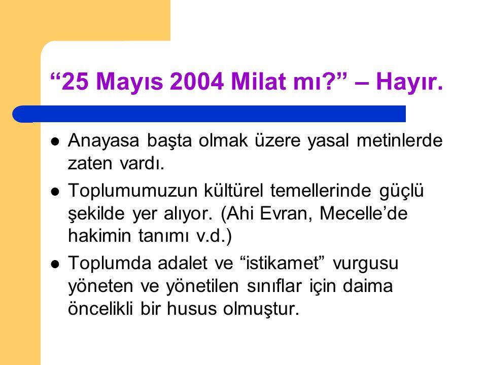"""""""25 Mayıs 2004 Milat mı?"""" – Hayır. Anayasa başta olmak üzere yasal metinlerde zaten vardı. Toplumumuzun kültürel temellerinde güçlü şekilde yer alıyor"""