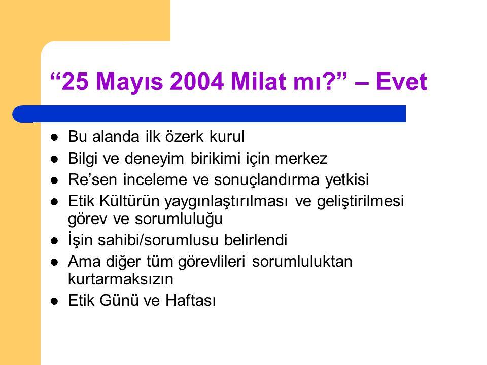 """""""25 Mayıs 2004 Milat mı?"""" – Evet Bu alanda ilk özerk kurul Bilgi ve deneyim birikimi için merkez Re'sen inceleme ve sonuçlandırma yetkisi Etik Kültürü"""