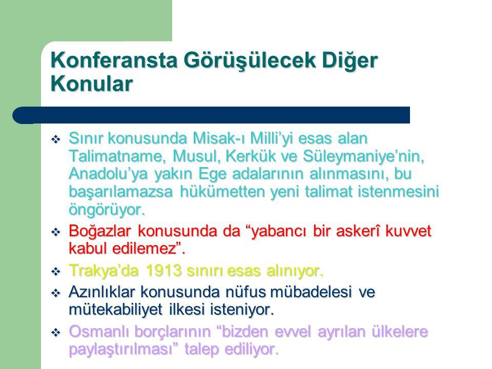 Konferansta Görüşülecek Diğer Konular  Sınır konusunda Misak-ı Milli'yi esas alan Talimatname, Musul, Kerkük ve Süleymaniye'nin, Anadolu'ya yakın Ege