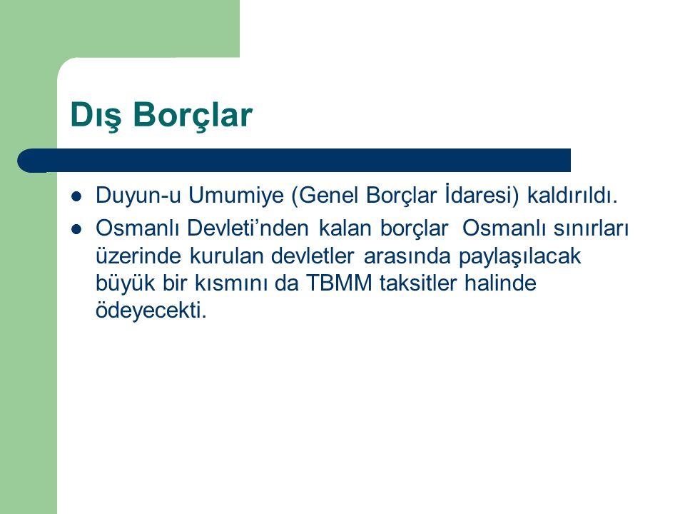 Dış Borçlar Duyun-u Umumiye (Genel Borçlar İdaresi) kaldırıldı. Osmanlı Devleti'nden kalan borçlar Osmanlı sınırları üzerinde kurulan devletler arasın