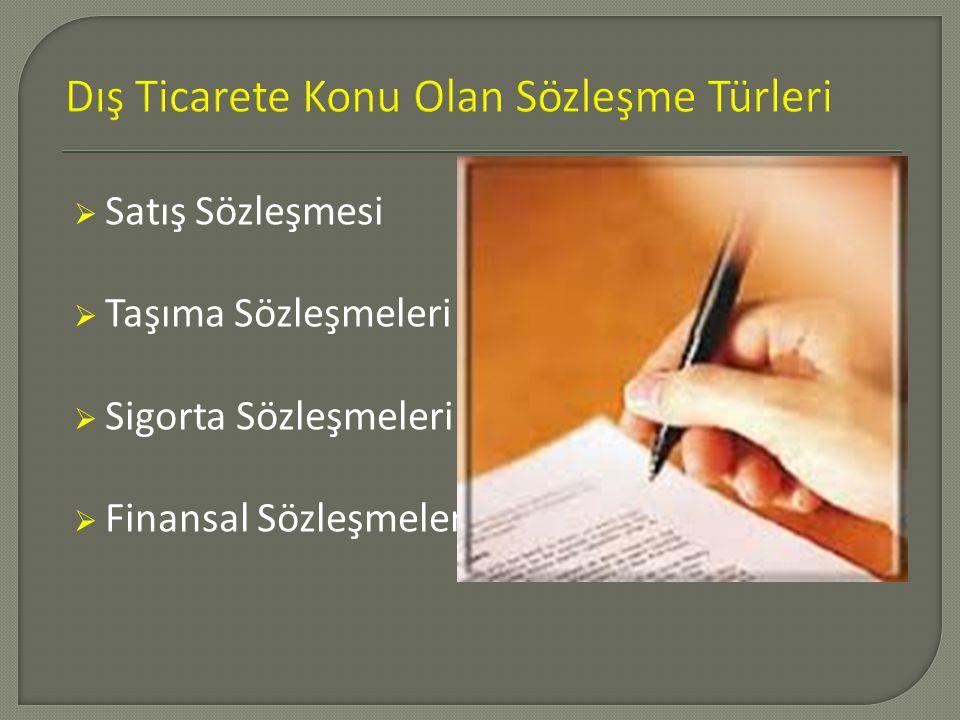  Satış Sözleşmesi  Taşıma Sözleşmeleri  Sigorta Sözleşmeleri  Finansal Sözleşmeler