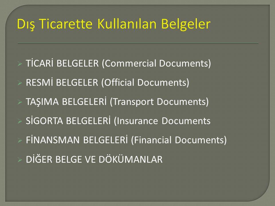  TİCARİ BELGELER (Commercial Documents)  RESMİ BELGELER (Official Documents)  TAŞIMA BELGELERİ (Transport Documents)  SİGORTA BELGELERİ (Insurance