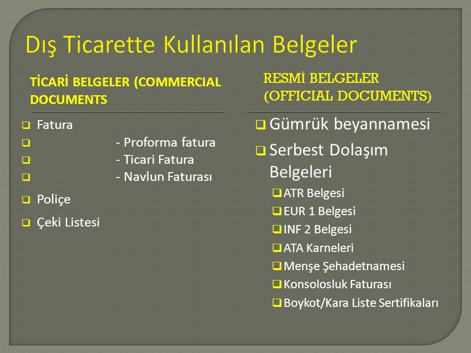TİCARİ BELGELER (COMMERCIAL DOCUMENTS RESMİ BELGELER (OFFICIAL DOCUMENTS)  Fatura  - Proforma fatura  - Ticari Fatura  - Navlun Faturası  Poliçe