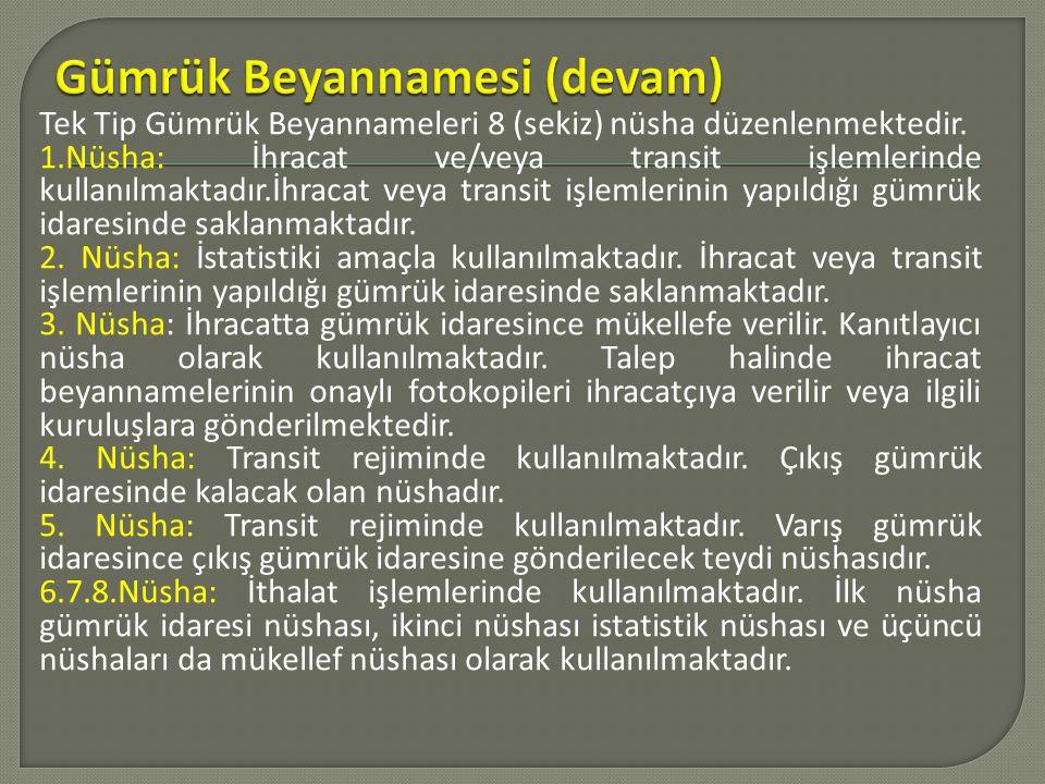 Tek Tip Gümrük Beyannameleri 8 (sekiz) nüsha düzenlenmektedir. 1.Nüsha: İhracat ve/veya transit işlemlerinde kullanılmaktadır.İhracat veya transit işl