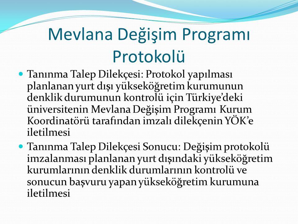 Mevlana Değişim Programı Protokolü Tanınma Talep Dilekçesi: Protokol yapılması planlanan yurt dışı yükseköğretim kurumunun denklik durumunun kontrolü