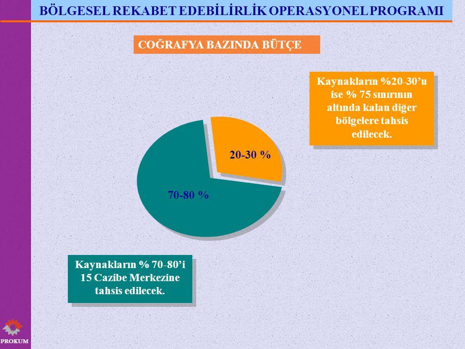 PROKUM COĞRAFYA BAZINDA BÜTÇE Kaynakların %20-30'u ise % 75 sınırının altında kalan diğer bölgelere tahsis edilecek.