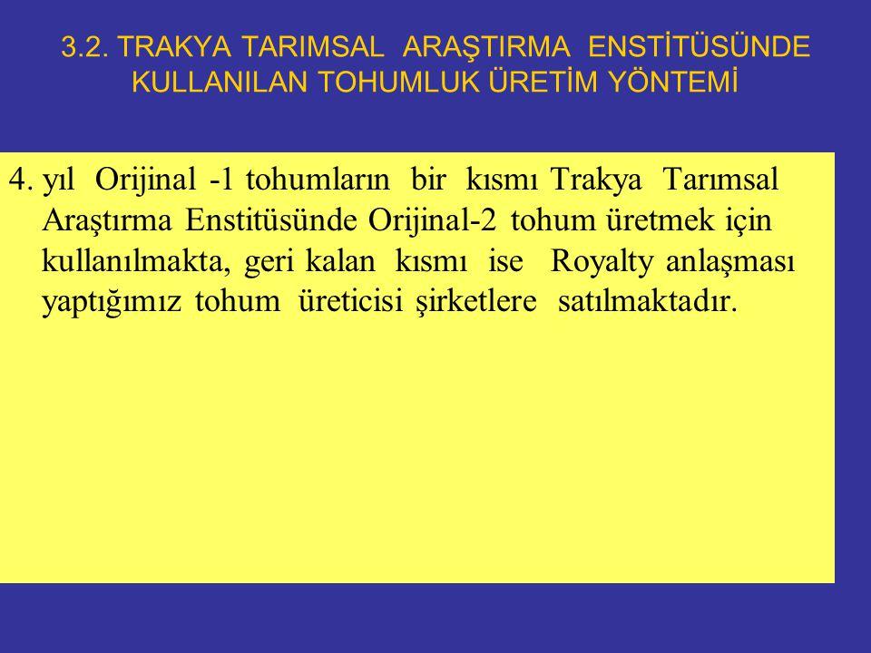 3.2. TRAKYA TARIMSAL ARAŞTIRMA ENSTİTÜSÜNDE KULLANILAN TOHUMLUK ÜRETİM YÖNTEMİ 4.
