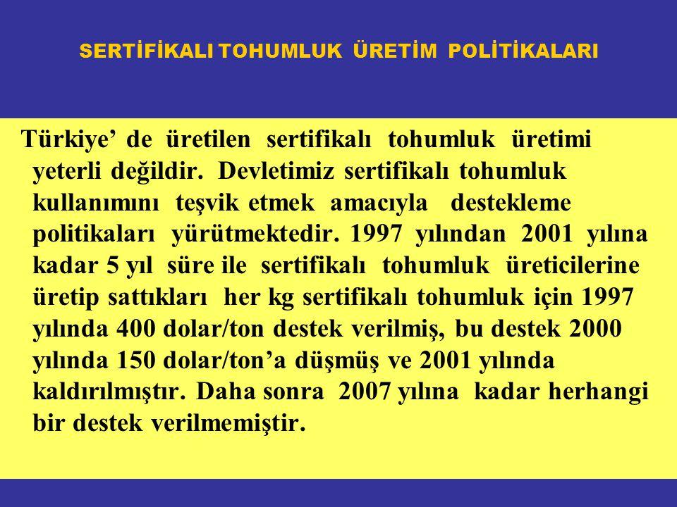 SERTİFİKALI TOHUMLUK ÜRETİM POLİTİKALARI Türkiye' de üretilen sertifikalı tohumluk üretimi yeterli değildir.