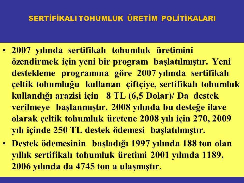 SERTİFİKALI TOHUMLUK ÜRETİM POLİTİKALARI 2007 yılında sertifikalı tohumluk üretimini özendirmek için yeni bir program başlatılmıştır.