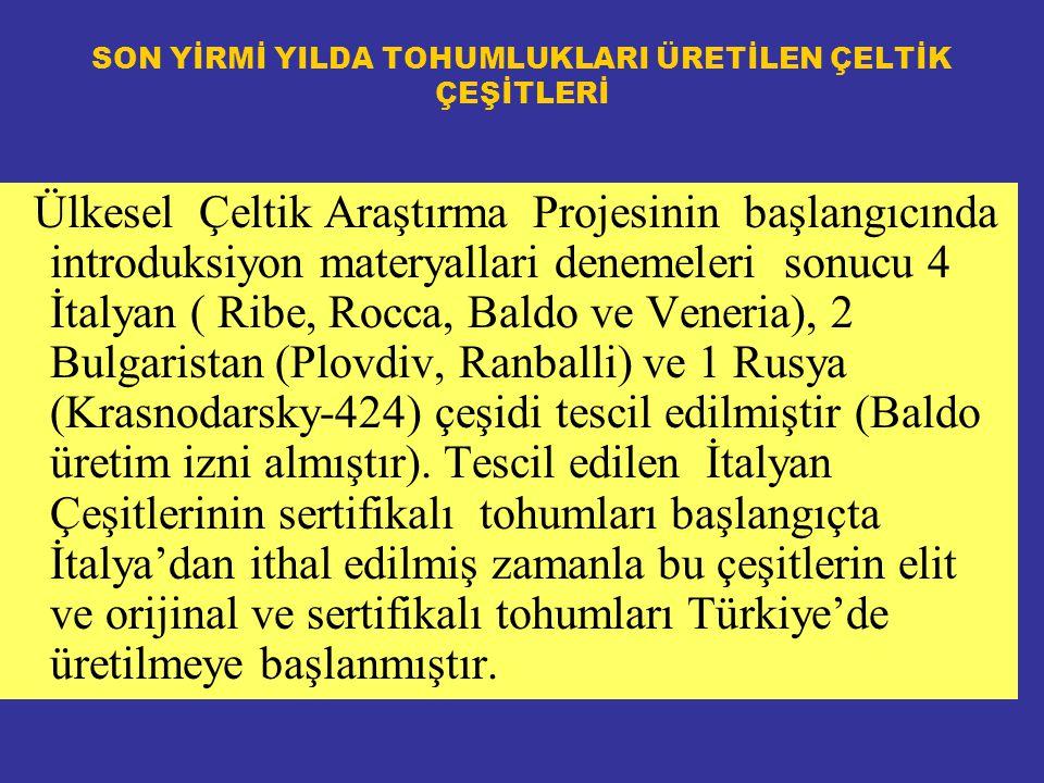 SON YİRMİ YILDA TOHUMLUKLARI ÜRETİLEN ÇELTİK ÇEŞİTLERİ Ülkesel Çeltik Araştırma Projesinin başlangıcında introduksiyon materyallari denemeleri sonucu 4 İtalyan ( Ribe, Rocca, Baldo ve Veneria), 2 Bulgaristan (Plovdiv, Ranballi) ve 1 Rusya (Krasnodarsky-424) çeşidi tescil edilmiştir (Baldo üretim izni almıştır).