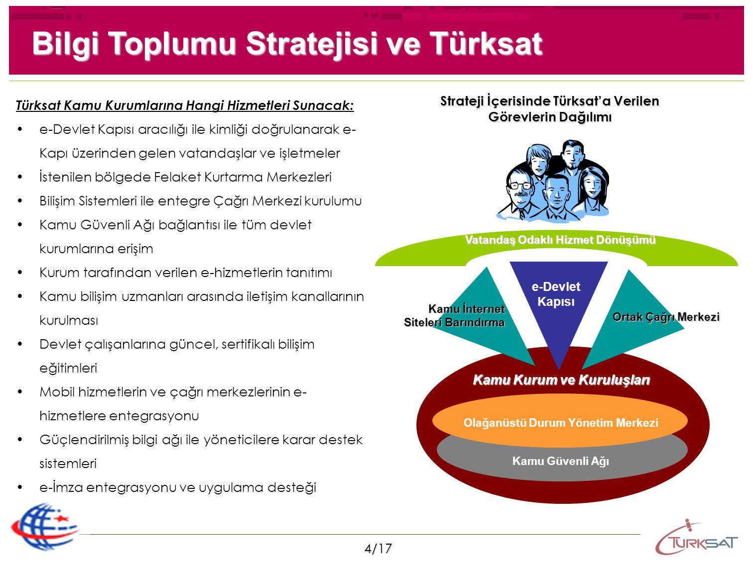 4/17 Bilgi Toplumu Stratejisi ve Türksat e-Devlet Kapısı Ortak Çağrı Merkezi Kamu Güvenli Ağı Olağanüstü Durum Yönetim Merkezi Kamu İnternet Siteleri