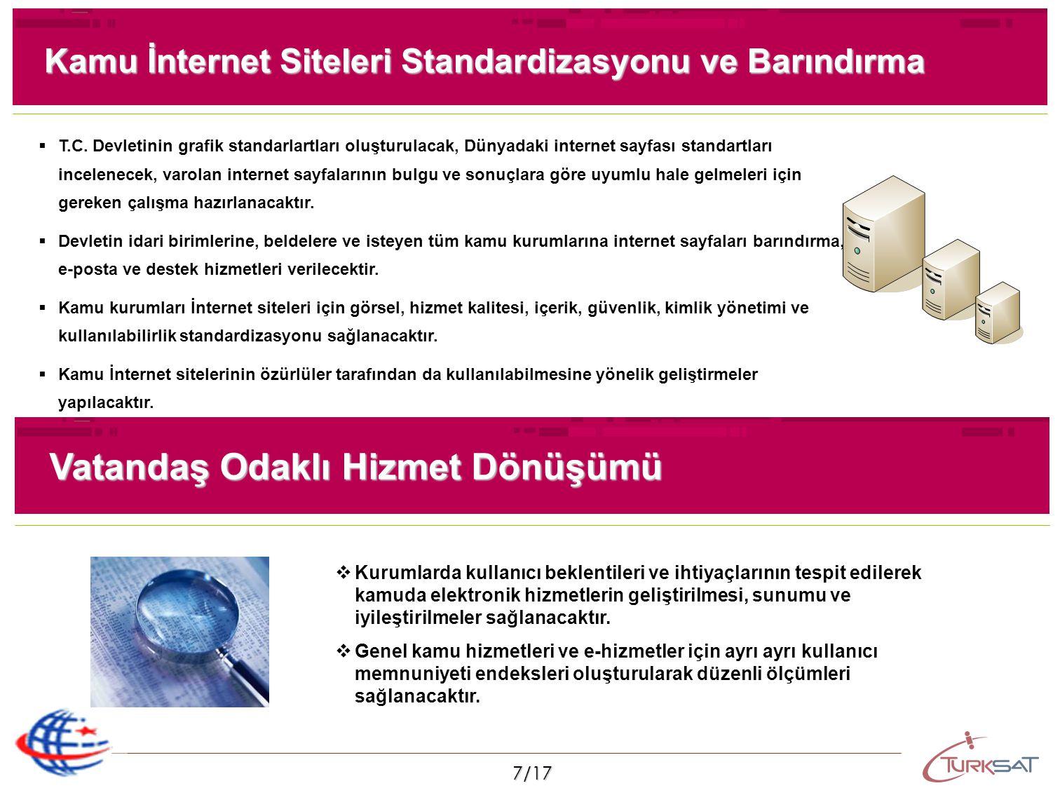 7/17 Kamu İnternet Siteleri Standardizasyonu ve Barındırma   T.C. Devletinin grafik standarlartları oluşturulacak, Dünyadaki internet sayfası standa