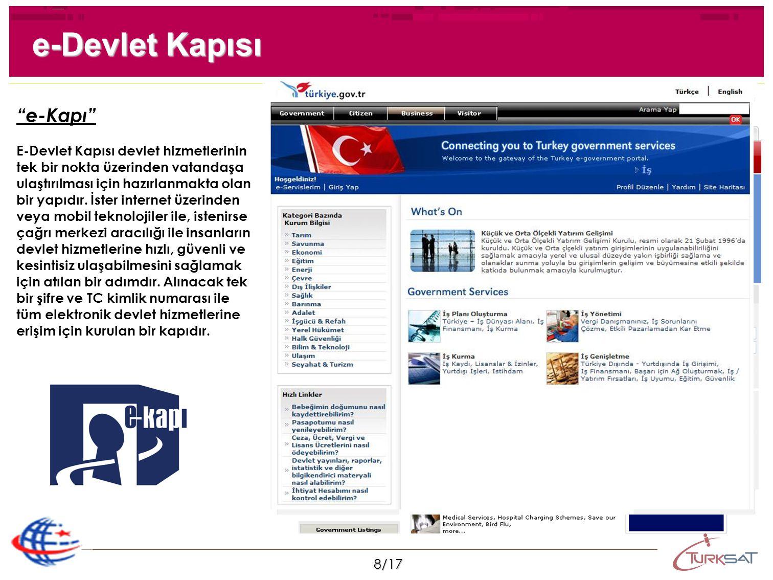 """8/17 """"e-Kapı"""" E-Devlet Kapısı devlet hizmetlerinin tek bir nokta üzerinden vatandaşa ulaştırılması için hazırlanmakta olan bir yapıdır. İster internet"""
