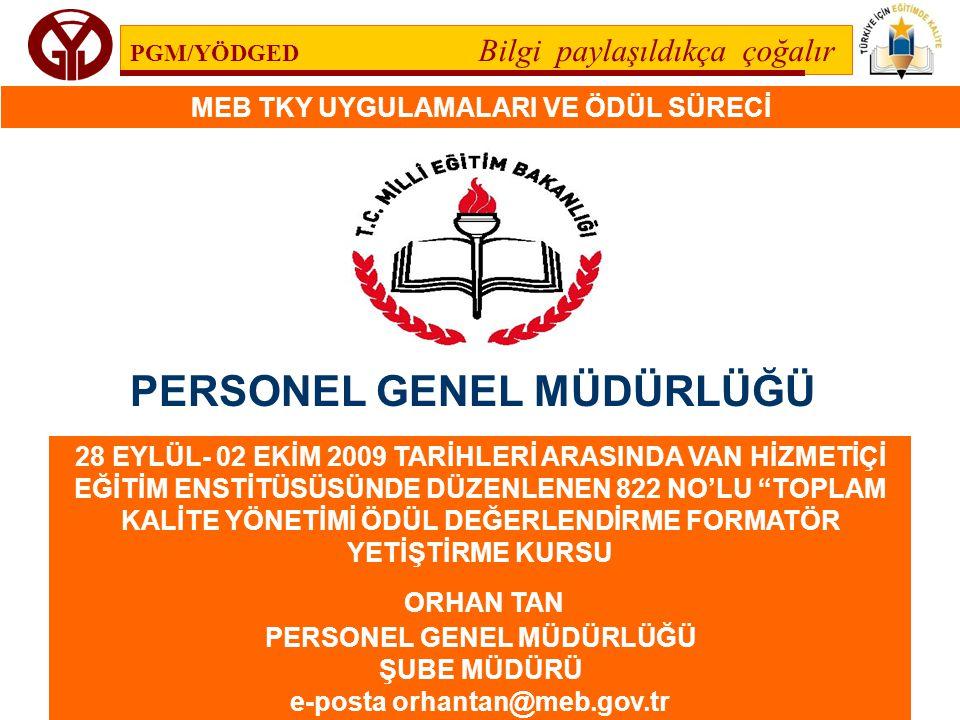 PGM/YÖDGED Bilgi paylaşıldıkça çoğalır MEB TKY UYGULAMALARI VE ÖDÜL SÜRECİ 112 Toplam Kalite Yönetimi, yöneticilerin çalışanlarına liderlik yapmasını beklemektedir.