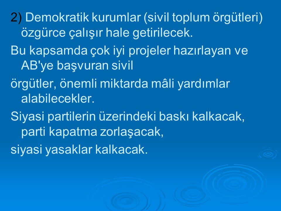 2) Demokratik kurumlar (sivil toplum örgütleri) özgürce çalışır hale getirilecek. Bu kapsamda çok iyi projeler hazırlayan ve AB'ye başvuran sivil örgü