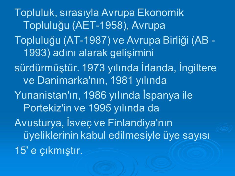 Topluluk, sırasıyla Avrupa Ekonomik Topluluğu (AET-1958), Avrupa Topluluğu (AT-1987) ve Avrupa Birliği (AB - 1993) adını alarak gelişimini sürdürmüştü