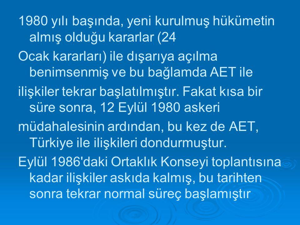 1980 yılı başında, yeni kurulmuş hükümetin almış olduğu kararlar (24 Ocak kararları) ile dışarıya açılma benimsenmiş ve bu bağlamda AET ile ilişkiler