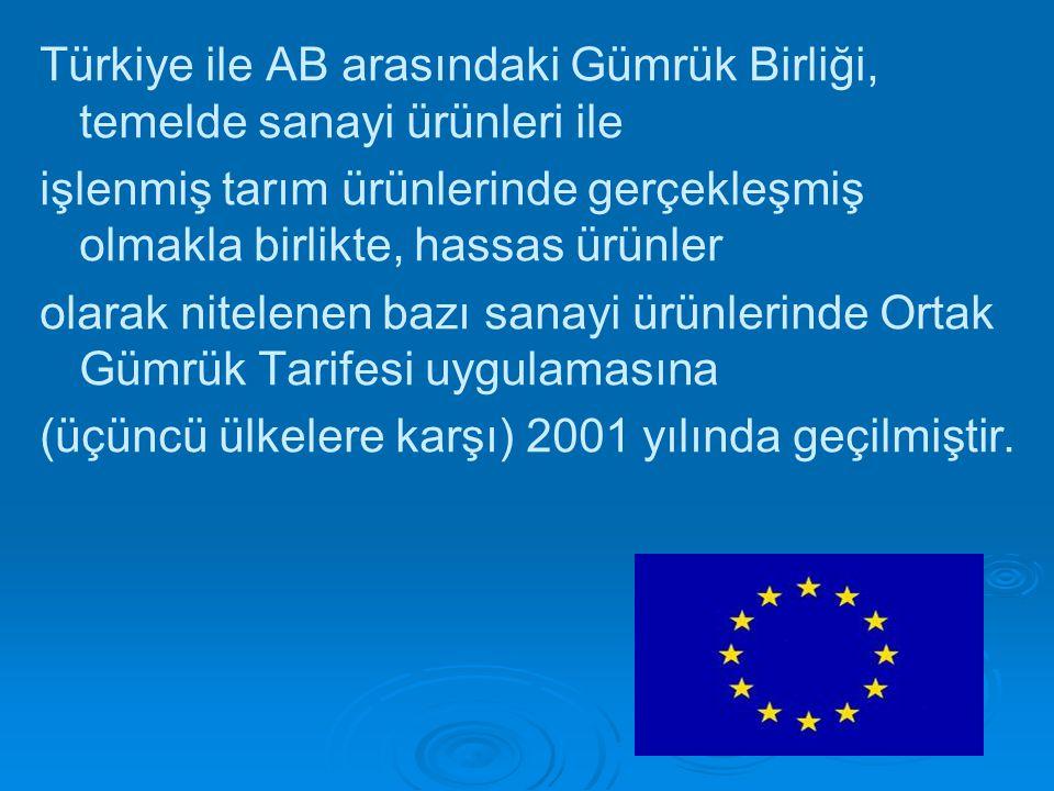 Türkiye ile AB arasındaki Gümrük Birliği, temelde sanayi ürünleri ile işlenmiş tarım ürünlerinde gerçekleşmiş olmakla birlikte, hassas ürünler olarak