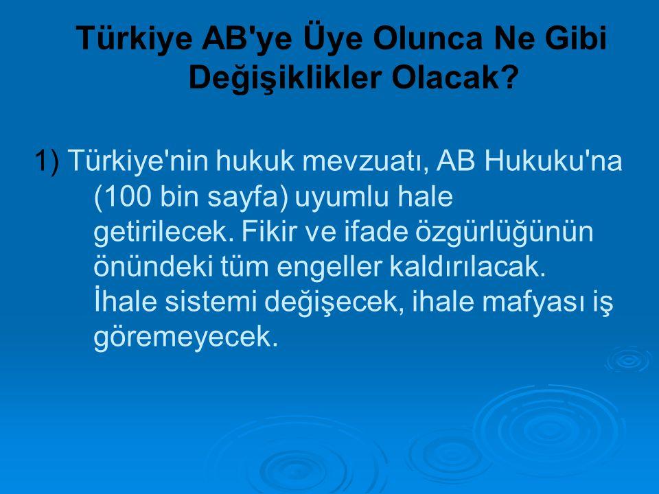 1) Türkiye'nin hukuk mevzuatı, AB Hukuku'na (100 bin sayfa) uyumlu hale getirilecek. Fikir ve ifade özgürlüğünün önündeki tüm engeller kaldırılacak. İ