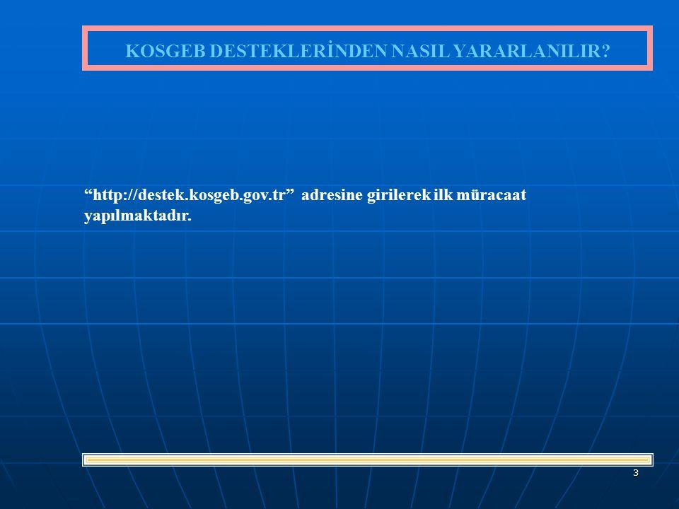 3 http://destek.kosgeb.gov.tr adresine girilerek ilk müracaat yapılmaktadır.