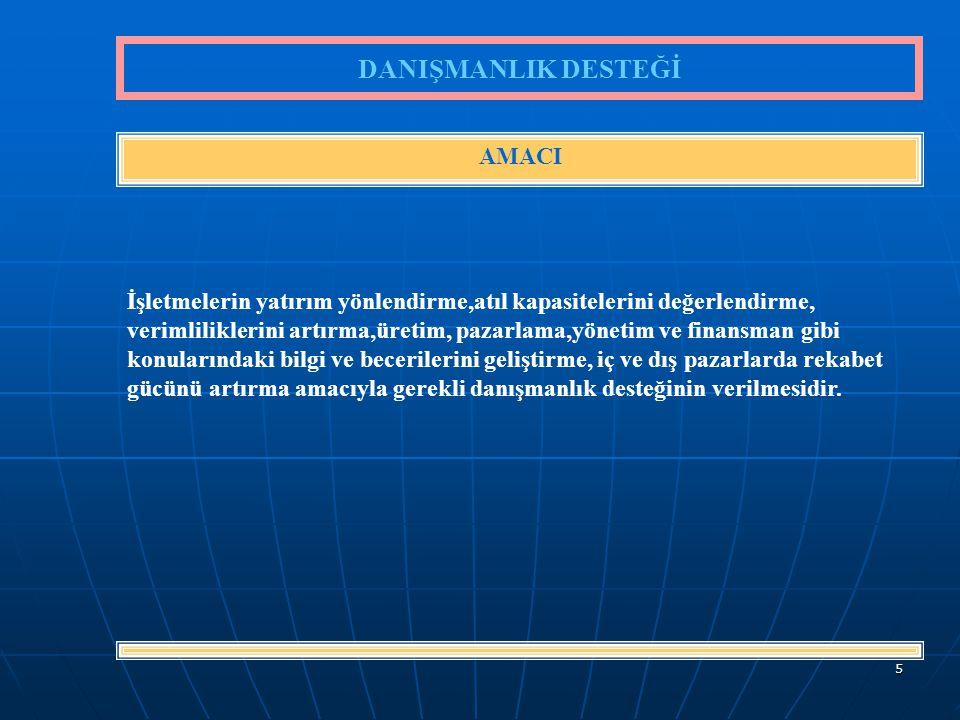 6 KOSGEB'in İşletme başına sağlayacağı Danışmanlık desteğinin üst limiti 15.000.- Yeni Türk Lirasıdır.