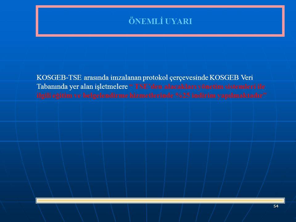 54 ÖNEMLİ UYARI KOSGEB-TSE arasında imzalanan protokol çerçevesinde KOSGEB Veri Tabanında yer alan işletmelere TSE'den alacakları yönetim sistemleri ile ilgili eğitim ve belgelendirme hizmetlerinde %25 indirim yapılmaktadır