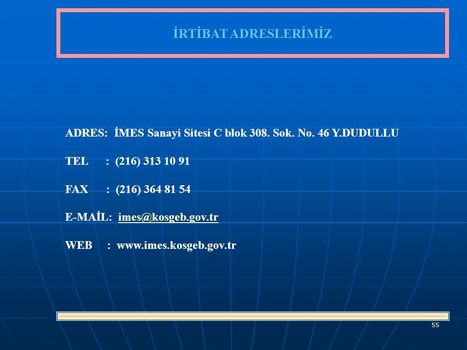 55 İRTİBAT ADRESLERİMİZ ADRES: İMES Sanayi Sitesi C blok 308.