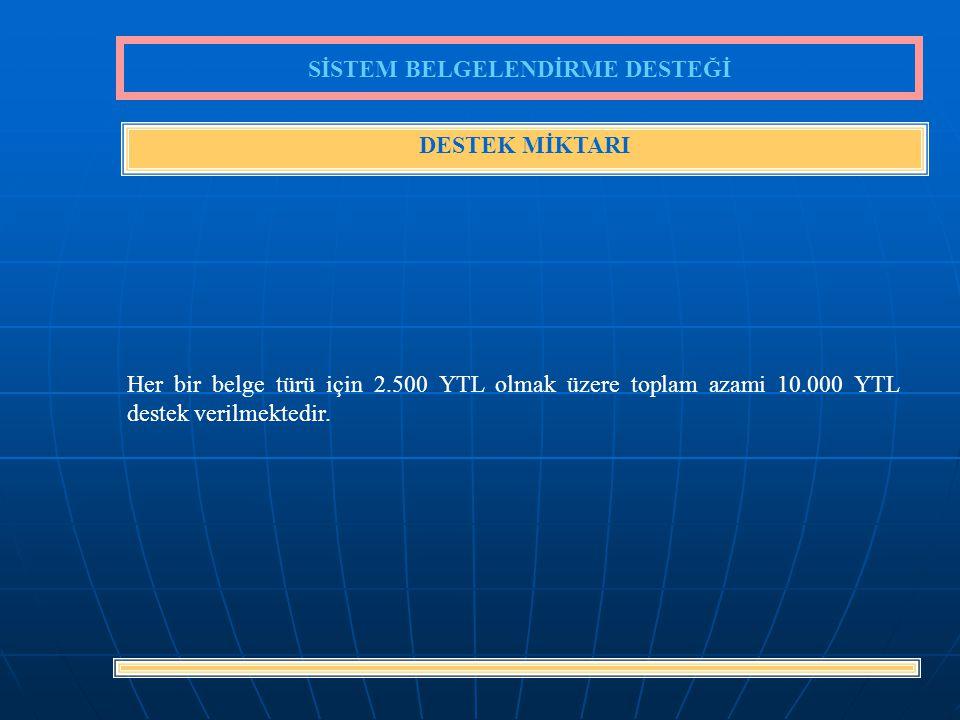 8 Her bir belge türü için 2.500 YTL olmak üzere toplam azami 10.000 YTL destek verilmektedir.