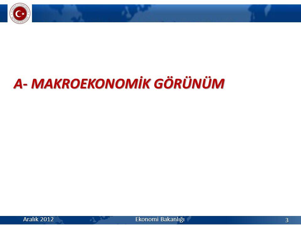 A- MAKROEKONOMİK GÖRÜNÜM Aralık 2012 Ekonomi Bakanlığı 3