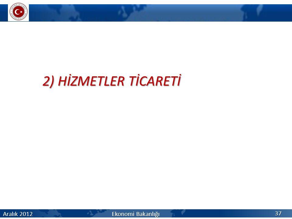 2) HİZMETLER TİCARETİ Aralık 2012 Ekonomi Bakanlığı 37