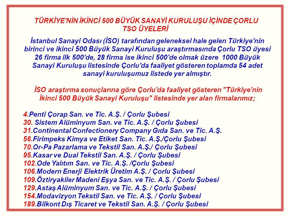 TÜRKİYE'NİN İKİNCİ 500 BÜYÜK SANAYİ KURULUŞU İÇİNDE ÇORLU TSO ÜYELERİ İstanbul Sanayi Odası (İSO) tarafından geleneksel hale gelen Türkiye'nin birinci