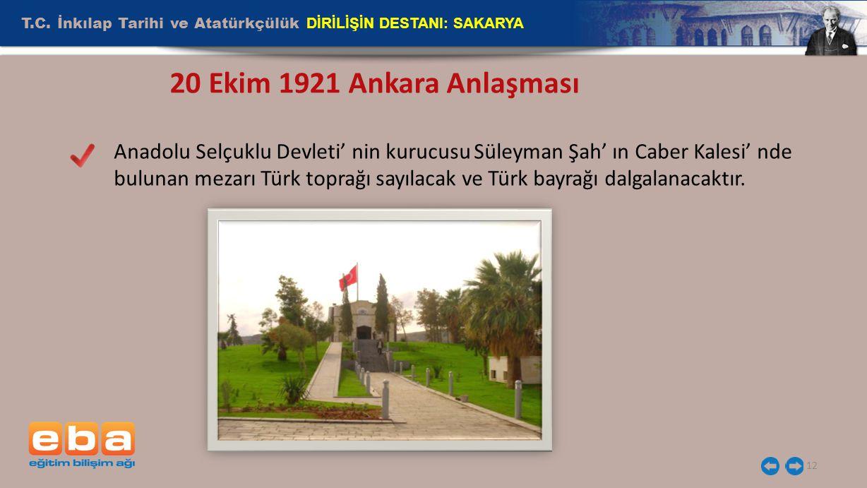 T.C. İnkılap Tarihi ve Atatürkçülük DİRİLİŞİN DESTANI: SAKARYA 12 20 Ekim 1921 Ankara Anlaşması Anadolu Selçuklu Devleti' nin kurucusu Süleyman Şah' ı