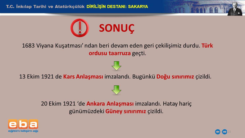 T.C. İnkılap Tarihi ve Atatürkçülük DİRİLİŞİN DESTANI: SAKARYA 15 1683 Viyana Kuşatması' ndan beri devam eden geri çekilişimiz durdu. Türk ordusu taar