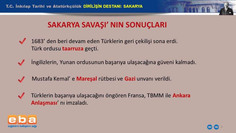 T.C. İnkılap Tarihi ve Atatürkçülük DİRİLİŞİN DESTANI: SAKARYA 8 SAKARYA SAVAŞI' NIN SONUÇLARI 1683' den beri devam eden Türklerin geri çekilişi sona