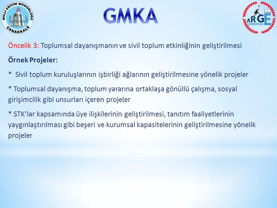 Öncelik 3: Toplumsal dayanışmanın ve sivil toplum etkinliğinin geliştirilmesi Örnek Projeler: * Sivil toplum kuruluşlarının işbirliği ağlarının geliştirilmesine yönelik projeler * Toplumsal dayanışma, toplum yararına ortaklaşa gönüllü çalışma, sosyal girişimcilik gibi unsurları içeren projeler * STK'lar kapsamında üye ilişkilerinin geliştirilmesi, tanıtım faaliyetlerinin yaygınlaştırılması gibi beşeri ve kurumsal kapasitelerinin geliştirilmesine yönelik projeler