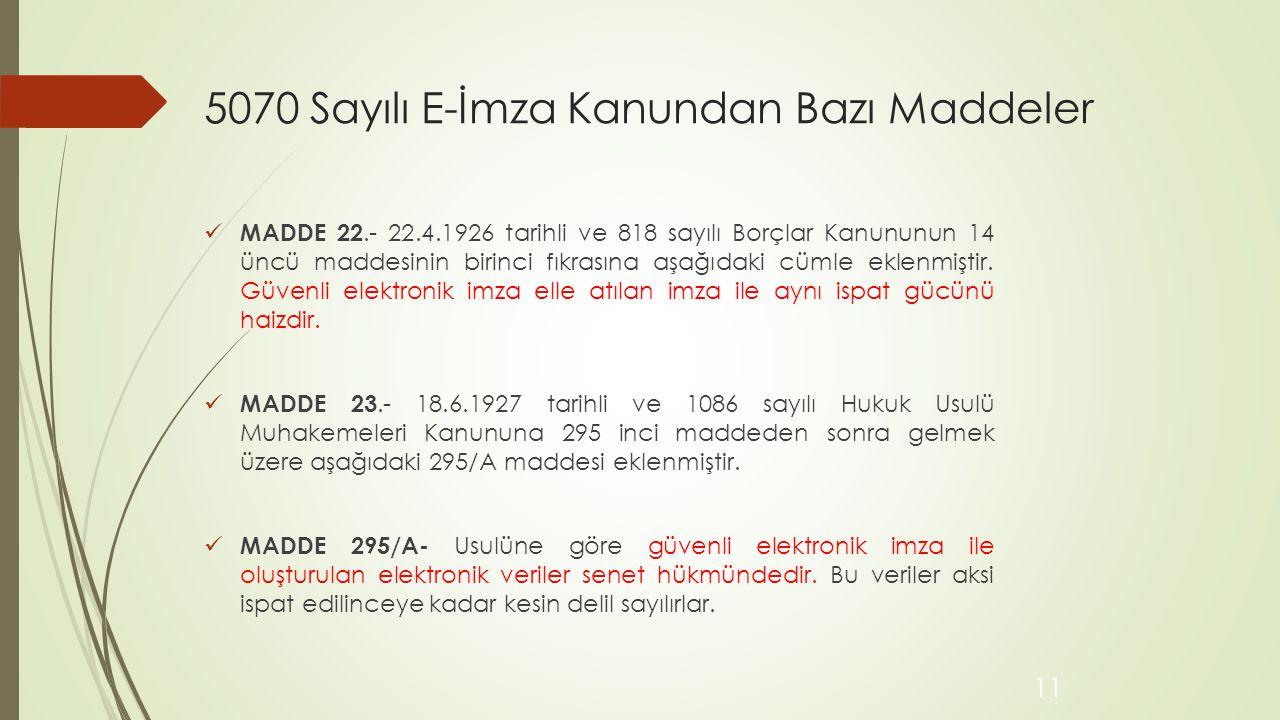 5070 Sayılı E-İmza Kanundan Bazı Maddeler MADDE 22.- 22.4.1926 tarihli ve 818 sayılı Borçlar Kanununun 14 üncü maddesinin birinci fıkrasına aşağıdaki cümle eklenmiştir.